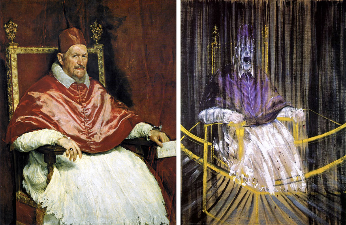 Left: Portrait of Pope Innocent X, Diego Velázquez / Right: Study after Velázquez's Portrait of Pope Innocent X, Francis Bacon